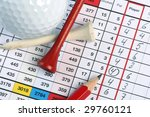 Golf Scorecard With Ball And...
