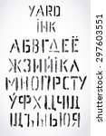 cyrillic font. grotesque. it... | Shutterstock .eps vector #297603551