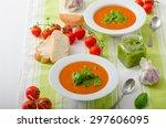tomato soup with gremolata ... | Shutterstock . vector #297606095
