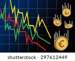 decreasing graph with euro...   Shutterstock .eps vector #297612449