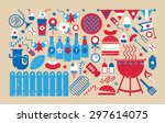 panoramic composition with bbq... | Shutterstock .eps vector #297614075