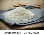 Uncooked Rice Grains On The...
