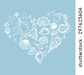 Heart Of Sea Shells. Hand Drawn ...