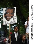 Small photo of NEW YORK CITY - JULY 17 2015: Million March NYC staged a rally at Columbus Circle & march to commemorate the one year anniversary of Eric Garner's death. Several arrests ensued
