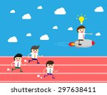 running businessman at the... | Shutterstock .eps vector #297638411