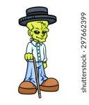 modern old gentleman wear hat   ... | Shutterstock .eps vector #297662399