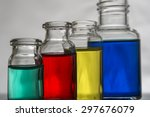 Set Of Laboratory Bottles With...