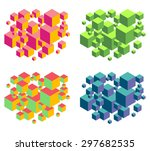 floating isometric group of... | Shutterstock .eps vector #297682535