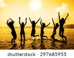 silhouette of young group of... | Shutterstock . vector #297685955