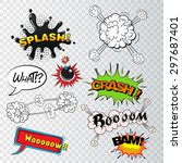 comic speech bubbles sound... | Shutterstock .eps vector #297687401