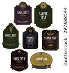 set of vector labels on wine in ... | Shutterstock .eps vector #297688544