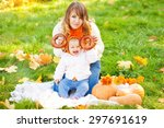 woman with child in autumn park....   Shutterstock . vector #297691619