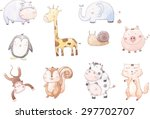 Stock vector vector cartoon of ten baby animals 297702707
