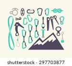 Climbing Equipment Vector Set.