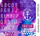 hand drawn hipster typeface and ... | Shutterstock .eps vector #297709151