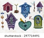 birdhouses set.vector... | Shutterstock .eps vector #297714491