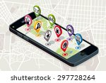 city map with pins showing... | Shutterstock .eps vector #297728264