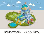 people living in a smart... | Shutterstock .eps vector #297728897