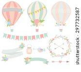 wedding hot air balloon vector  | Shutterstock .eps vector #297732587
