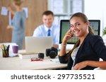 female photographer sitting on...   Shutterstock . vector #297735521
