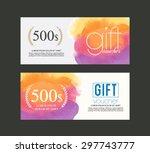 gift voucher watercolour . | Shutterstock .eps vector #297743777