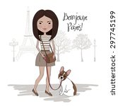 pretty girl with french bulldog ... | Shutterstock .eps vector #297745199