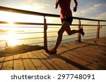 young fitness woman legs... | Shutterstock . vector #297748091