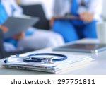 happy medical team discussing... | Shutterstock . vector #297751811