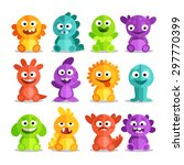 Set Of Cartoon Monsters In A...