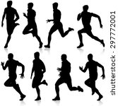 set of silhouettes. runners on... | Shutterstock .eps vector #297772001