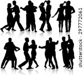 black silhouettes dancing on...   Shutterstock .eps vector #297772061