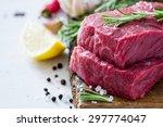 raw meat  rosemary  salt ... | Shutterstock . vector #297774047
