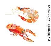 Watercolor Shrimp. Sea Food...