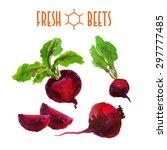 vector set of watercolor beets... | Shutterstock .eps vector #297777485