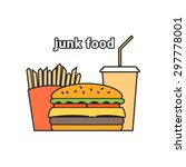 illustration with junk food... | Shutterstock . vector #297778001