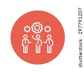 businessmen holding a gear of a ... | Shutterstock .eps vector #297791207
