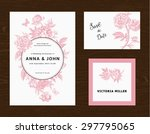 wedding set. menu  save the... | Shutterstock .eps vector #297795065
