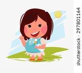 girl kid character with her... | Shutterstock .eps vector #297801164