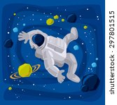 astronaut lost in space  ... | Shutterstock .eps vector #297801515