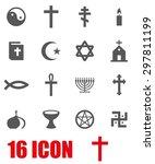 vector gray religion icon set...   Shutterstock .eps vector #297811199
