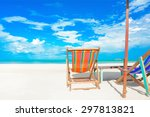 colorful beach chairs on white... | Shutterstock . vector #297813821