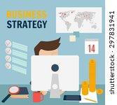 business strategy concept. man... | Shutterstock .eps vector #297831941