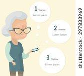 senior woman holding smartphone.... | Shutterstock .eps vector #297833969