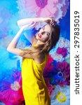 fashion shot of a beautiful... | Shutterstock . vector #297835019