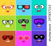 cartoon faces with emotions v... | Shutterstock .eps vector #297837215