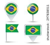 map pins with flag of brazil  ... | Shutterstock .eps vector #297838511
