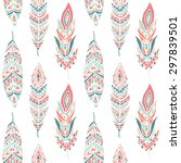 seamless pattern with ethnic... | Shutterstock .eps vector #297839501