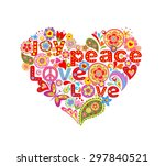print with colorful hippie... | Shutterstock .eps vector #297840521