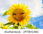 Happy Sunflower With Face