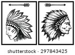 hand drawn indian chief vector...   Shutterstock .eps vector #297843425